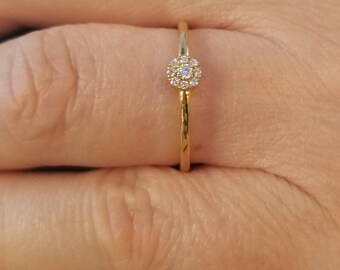 14K Solid Yellow Gold Diamond Ring / Halo Diamond Ring / Diamond Engagement Ring / Promise Ring / Minimalist Diamond Ring / Anniversary Ring