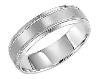White Gold Mens Wedding Bands, Satin Finish Mens Wedding Rings, 6mm 10K 14K 18K Solid White Gold Wedding Bands, His & Hers Wedding Rings