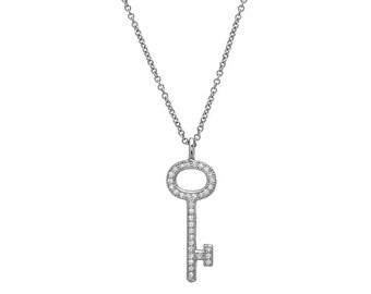 Diamond Key Necklace / 14K Gold Diamond Key Necklace /  Solid White Gold Key Necklace