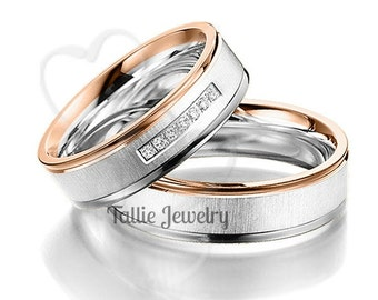 His & Hers Wedding Rings, 14K White and Rose Gold Brushed Finish Wedding Bands, Matching Wedding Rings Set, His and Hers Wedding Bands