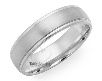 950 Platinum Mens Band,  6mm Satin Finish Platinum Mens Ring , Platinum Wedding Bands, Platinum Wedding Rings