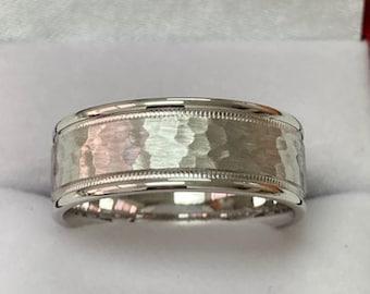 Hammered Finish Milgrain  Mens Wedding Band, Mens Wedding Ring , 8mm 10K 14K 18K Solid White Gold Wedding Bands