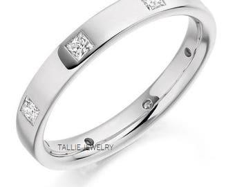 Platinum Diamond Wedding Bands, Princess Cut Diamonds Eternity Wedding Rings, Matching Wedding Bands, Platinum Womens Diamond Wedding Rings