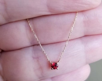 14K Gold Solitaire Necklace ,0.20ct Natural Red Garnet Necklace, January Birthstone Necklace, Prong Setting Solitaire Necklace, Gemstone