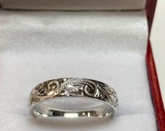 Hand Engraved Platinum Wedding Band,  Platinum Mens Wedding Ring, 950 Platinum Hand Engraved Band, Hand Engraved Ring