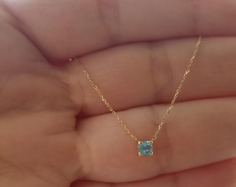 14K Gold Solitaire Necklace, 0.20ct Natural Aquamarine Prong Setting Solitaire Necklace, March Birthstone, Aquamarine , Gemstone