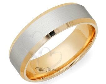 Platinum Wedding Band, Platinum Wedding Ring, Two Tone Gold Wedding Bands, Platinum & 18K Solid Yellow Gold Beveleed Edge Wedding Rings