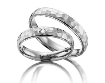 His & Hers Wedding Bands, Matching Wedding Rings Set , 10K 14K 18K Solid White Gold Hammered Finish Wedding Bands,Diamond Wedding Rings