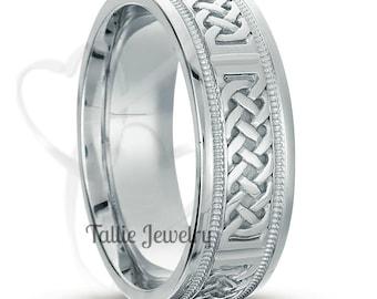 Mens White Gold Wedding Bands, Celtic Mens Wedding Ring, 7mm  14K White Gold Mens Wedding Bands, Celtic Wedding Band, Irish Wedding Rings