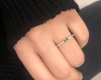 14K Gold Emerald Ring,  Diamond Cz Wedding Band,  Minimalist Baguette Cut Emerald Ring, Stackable Wedding Ring