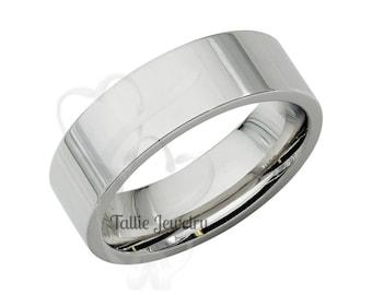 Mens Platinum Wedding Band,  Comfort Fit Flat Shiny Finish Plain Platinum Mens Wedding Ring