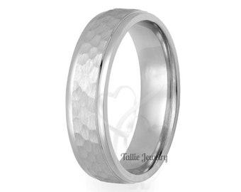 Hammered Finish Platinum Mens Wedding Bands , Platinum Mens Wedding Rings, 950 Platinum Wedding Band
