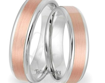 His & Hers Wedding Bands,  Matching Wedding Rings,  Two Tone Gold Wedding Bands,  14K Solid White and Rose Gold Wedding Rings