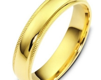 5mm 14K Solid Yellow Gold Mens Wedding Bands, Shiny Finish Mens Wedding Rings, His & Hers Wedding Bands, Matching Wedding Rings
