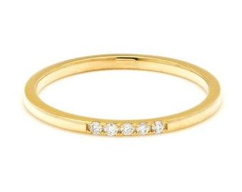 14K Gold Diamond Wedding Ring / Womens Diamond Wedding Band / Micro Pave Diamond Eternity Ring / Stacking Thin Diamond Ring
