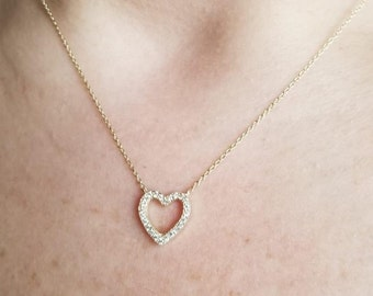Diamond Heart Necklace, 14K Solid Yellow Gold Diamond Heart Necklace, Dainty Heart Necklace , Solid Gold Heart Necklace