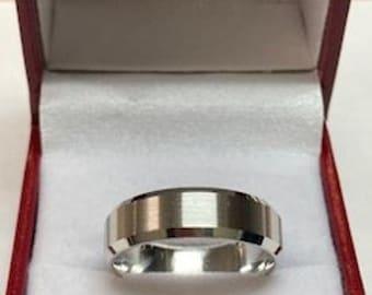 950 Platinum Wedding Band, Platinum Wedding Ring,  6mm Beveled Edge Satin Finish Mens Wedding Bands, Mens Wedding Rings