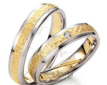 His & Hers Wedding Rings, Matching Wedding Bands,10K 14K 18K White and Yellow Gold Hammered Finish Wedding Rings,Two Tone Gold Wedding Bands