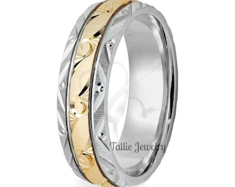 Two Tone Gold Wedding Bands, Hand Engraved Mens Wedding Rings, , 6mm 10K 14K 18K White & Yellow Gold Hand Engraved Mens Wedding Bands