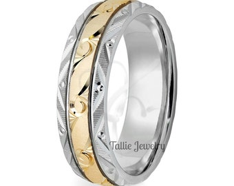 Hand Engraved Gold Wedding Band for Men's & Womens,10K 14K 18K White and Yellow Gold Hand Engraved Wedding Ring, Two Tone Gold Wedding Bands