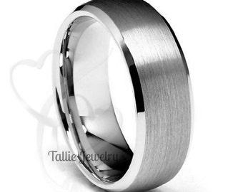 Mens White Gold Wedding Ring,Beveled Edge Satin Finish Mens Wedding Band ,7mm 10K 14K 18K Solid Gold Wedding Rings, His & Hers Wedding Bands