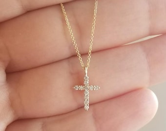 14K Solid Yellow Gold Diamond Cross Necklace, Minimalist Cross Necklace, Dainty Cross, Small Cross Necklace, Diamond Cross Necklace