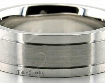 10K 14K 18K Solid White Gold Mens Wedding Bands,  Satin Finish Mens Wedding Rings,  His & Hers Wedding Bands,  Matching Wedding Rings