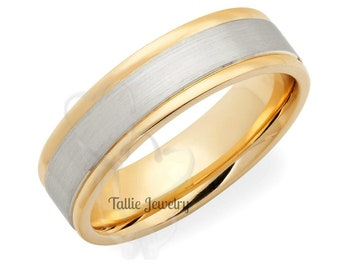 Two Tone Gold Wedding Bands, 6mm,10K 14K White and Yellow Gold Mens Wedding Rings, Matching Wedding Bands, His & Hers Wedding Rings