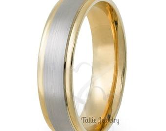 Platinum Mens Wedding Band, Platinum Mens Wedding Ring ,  6mm Platinum & 18K Yellow Gold Satin Finish Mens Wedding Bands