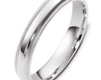 White Gold Wedding Bands, Milgrain Mens Wedding Ring, Shiny Finish Mens Wedding Band, 4mm 14K Solid Gold Wedding Rings
