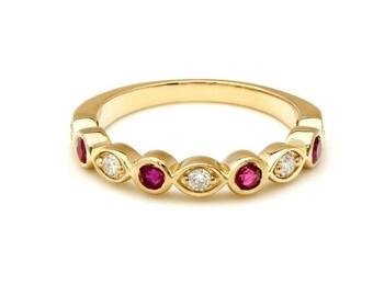 Ruby and Diamond Eternity Ring/Diamond Eternity Wedding Band/14K Gold Stacking Diamond Wedding Band/ Diamond Wedding Rings /Engagement Rings