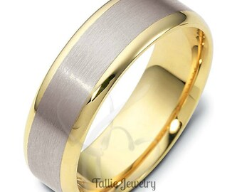 Platinum Mens Wedding Bands, Platinum & 18K Solid Yellow Gold Mens Wedding Rings,  Two Tone Gold Wedding Bands