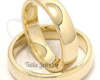 His & Hers Wedding Rings, Matching Wedding Bands, Mens Womens Plain Wedding Rings, 10K 14K 18K Solid Yellow Gold Wedding Bands