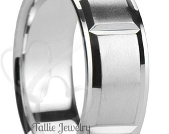 Mens White Gold Wedding Bands,  Mens Wedding Rings,  8mm 10K 14K 18K Solid White Gold Wedding Wedding Bands
