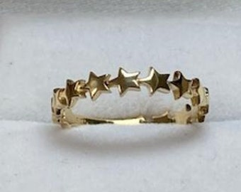 14K Gold Star Ring, Dainty Star Ring, Minimalist Star Ring, Womens Ring, Promise Ring, 14K Solid Yellow Gold Star Ring, All Around Star Ring