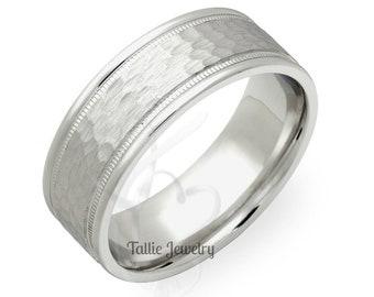 8mm 10K 14K 18K Solid Gold Wedding Mens Wedding Ring, Hammered Finish Mens Wedding Band, His & Hers Wedding Rings, White Gold Wedding Bands