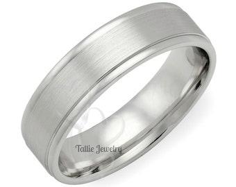 Mens Platinum Wedding Ring , Platinum Wedding Band , Platinum Mens Wedding Rings, 6mm Satin Finish Platinum Mens Wedding Bands