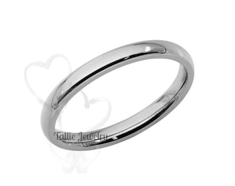 14K White Gold Wedding Band, Comfort Fit Shiny Finish Plain Dome Mens Womens Wedding Ring, His & Hers Wedding Bands, Matching Rings