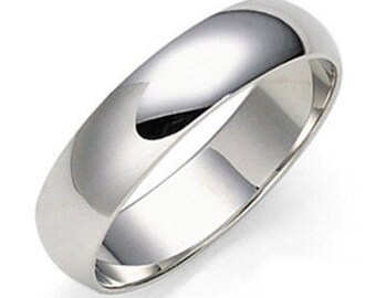 5mm 14K Solid White Gold Wedding Bands, Shiny Finish  Mens and Womens Wedding Ring, Gold Wedding Band