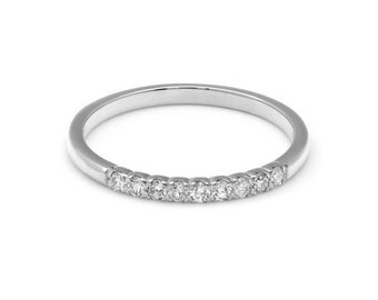 Diamond Eternity Wedding Band / 14K Solid White Gold Diamond Wedding Ring / 1.9mm Stacking Micro Pave Diamond Rings / Diamond Eternity Ring