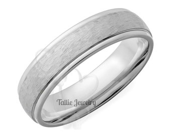 Mens White Gold Wedding Bands, Hammered Finish Mens Wedding Rings, 5mm 10K 14K 18K Solid White Gold Mens Wedding Bands