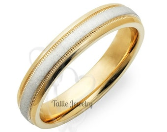 Two Tone Gold Wedding Rings ,4mm,10K,14K,18K Solid White and Yellow Gold Wedding Bands, Two Tone Gold Wedding Bands,His & Hers Wedding Rings
