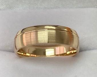 14K Yellow Gold Mens Wedding Bands, Satin Finish Mens Wedding Rings, Rings for Mens, 6mm 10K 14K 18K Solid Yellow Gold Wedding Bands
