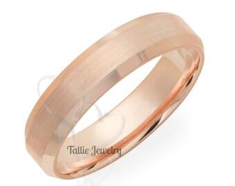 5mm 14K Rose Gold Mens Womens Wedding Rings, Rose Gold Wedding Bands, His & Hers Wedding Rings, Satin Finish Beveled Edge Gold Wedding Band