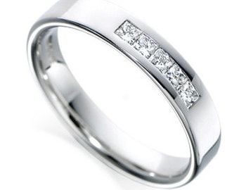 Princess Cut Diamond  Wedding Rings, Diamond Wedding Bands, Diamond Eternity Wedding Rings, 14K Gold Womens Diamond Wedding Bands