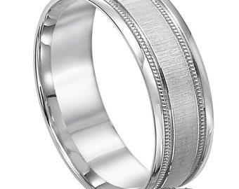 Mens Platinum Wedding Band , Mens Platinum Wedding Ring,  7mm  Milgrain Brushed  Finish Platinum Wedding Bands