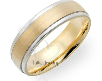 Two Tone Wedding Bands, 6mm 14K Solid White and Yellow Gold Satin Finish Mens Wedding Rings, Two Tone Gold Wedding Bands, Mens Wedding Bands
