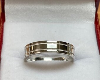 950 Platinum Wedding Band, Platinum Wedding Ring, Flat Shiny Finish Milgrain Platinum Mens Womens Wedding Rings, His & Hers Wedding Bands
