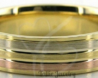 Two Tone Wedding Bands, 6mm 10K 14K 18K Solid White and Yellow Gold Mens Wedding Rings, Two Tone Gold Wedding Bands