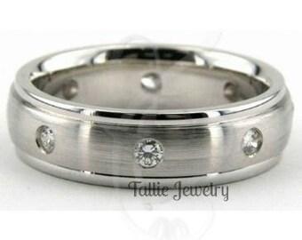 Mens Diamond Wedding Ring, Mens Diamond Wedding Band, 6mm 10K 14K 18K Solid White Gold Wedding Rings, Mens Wedding Bands